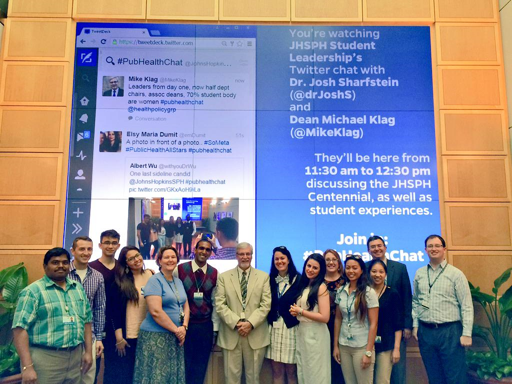 The #pubhealthchat Team including Deans Mike Klag & Josh Sharstein along with JHSPH Historian, student leaders, Nick Engquist....